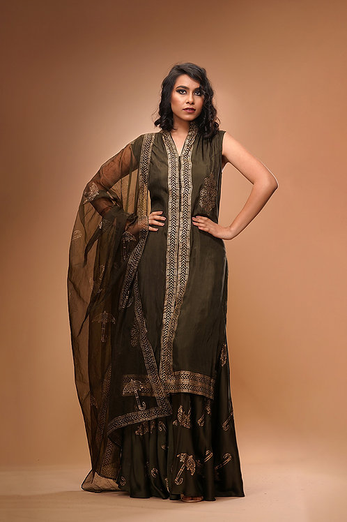 Metallic Print Sharara with Long Shirt