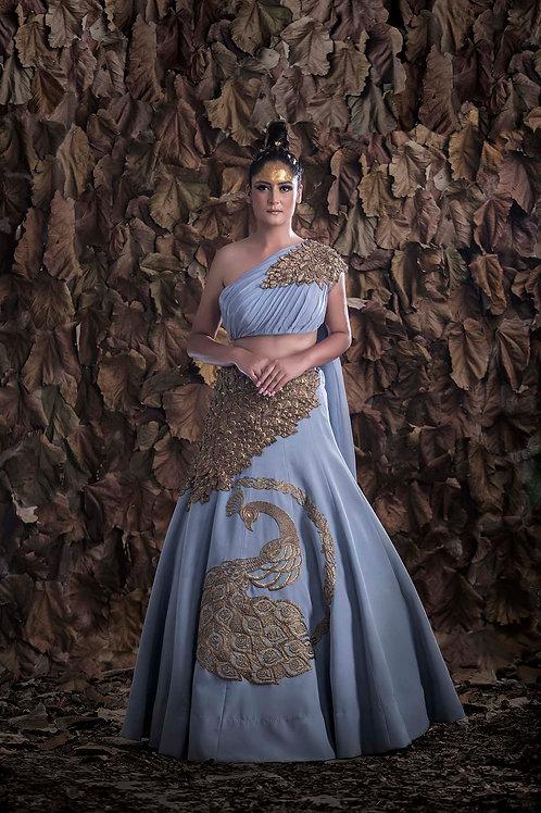 Peacock Drape Lehenga-Gown