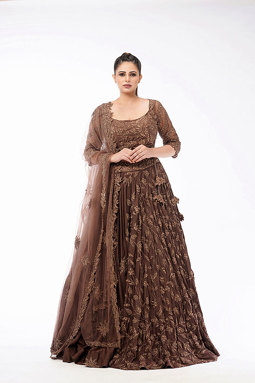 Half-Half Antique-Gold lehenga