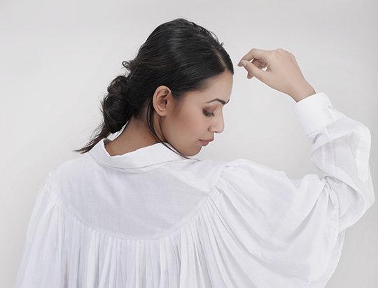 White Cotton Ruffled shirt