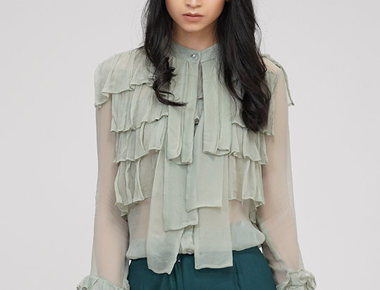 Moss- green Chiffon Ruffled shirt