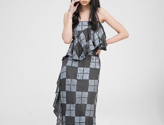 Grey Ruffled Strapless dress