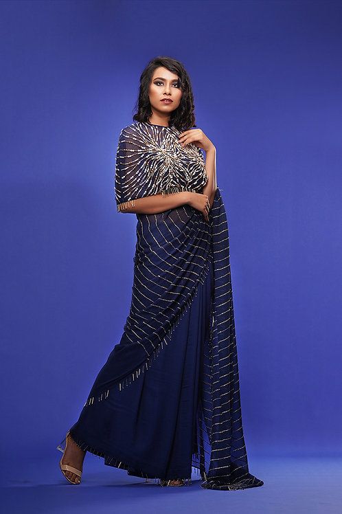 Draped Saree with Cape