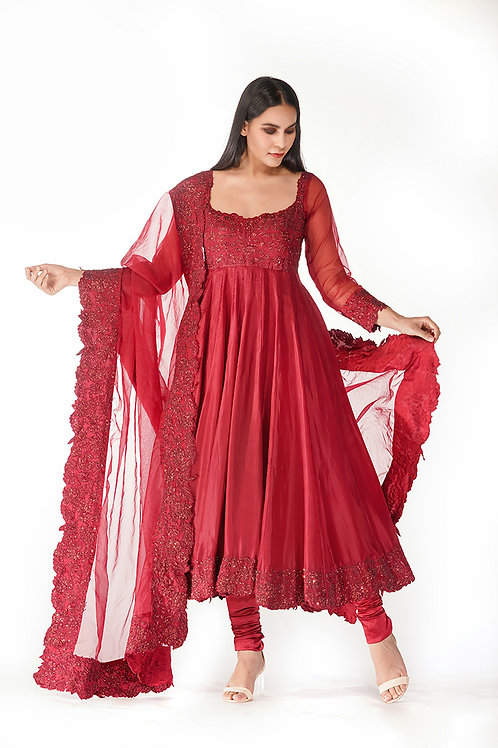 Classic Red Embroidery Anarkali