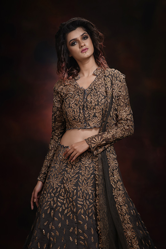 shruti s grey and gold lehenga for engam