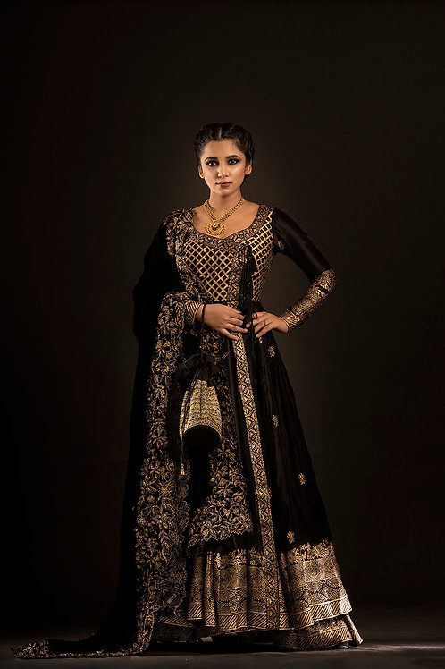 Black Angrakha Anarkali