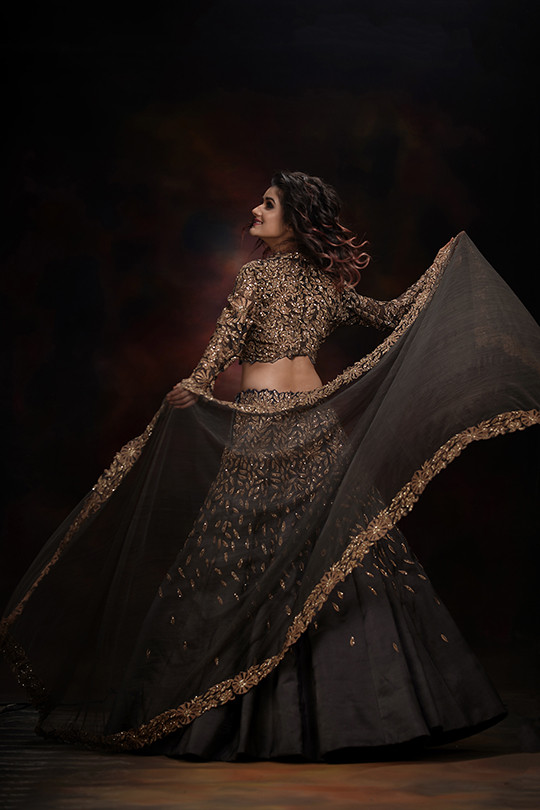 Falling leaves - Grey and Gold Lehenga