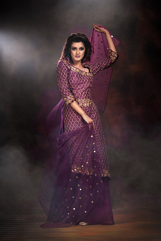Shruti s shara suit mirror work embroide