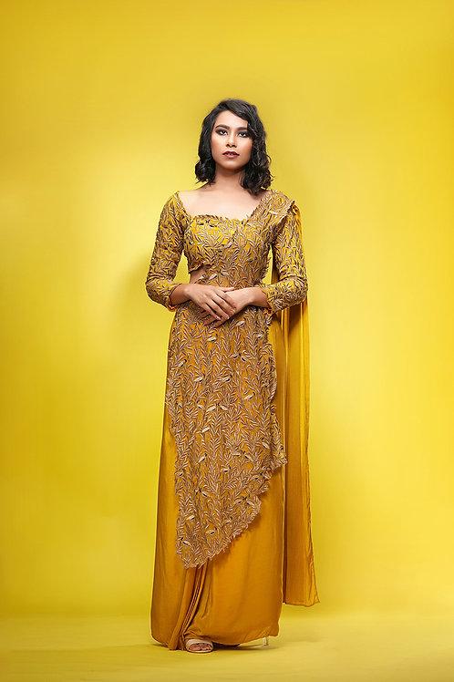 Draped Saree with double pallu