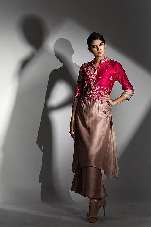 ombre kurta and skirt with back work