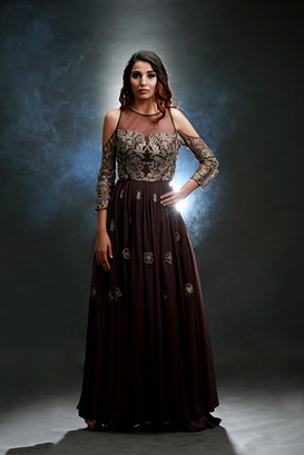 Shruti S cold-shoulder gown brown.jpg