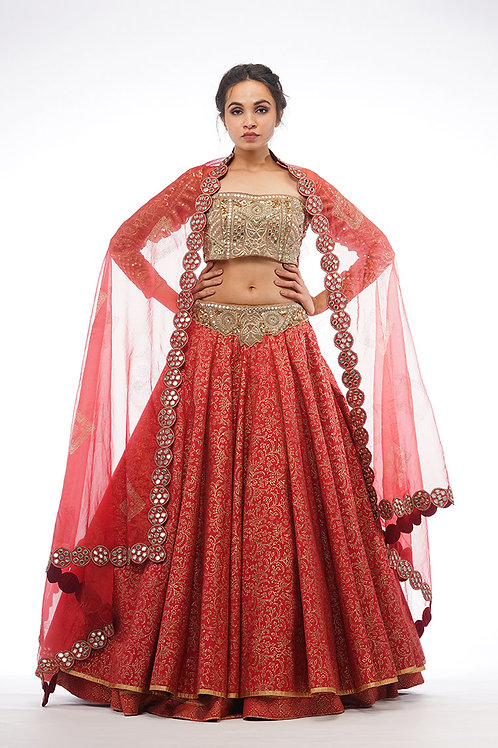 Double layer silk lehenga.