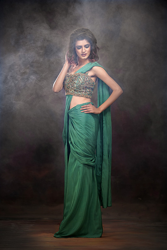 Shruti S draped saree green.jpg