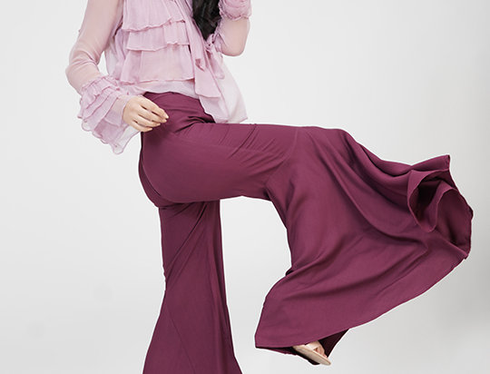 Wine Flared Bell-pants
