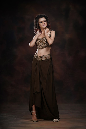 Dhoti Dress - draped skirt with embroidered belt and bustier