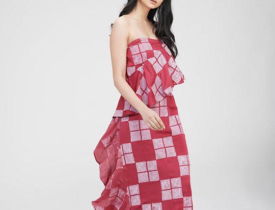 Carrot-red Ruffled Strapless dress