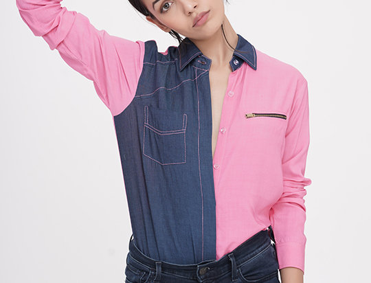 Denim Shirt - pink