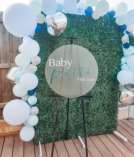 Circle Baby Shower Acrylic Welcome Sign