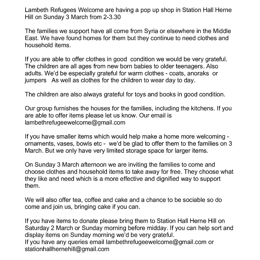 Lambeth Welcomes Refugees Drop Off