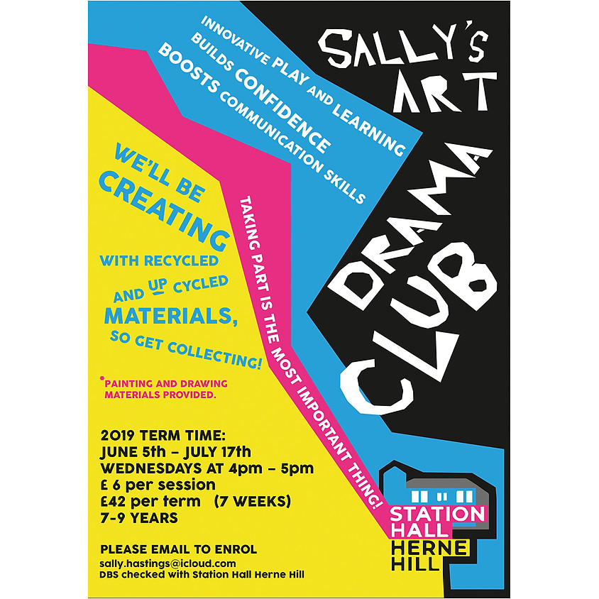 WEDNESDAYS 4-5PM - Sally's Art Drama Club for 7-9 year olds
