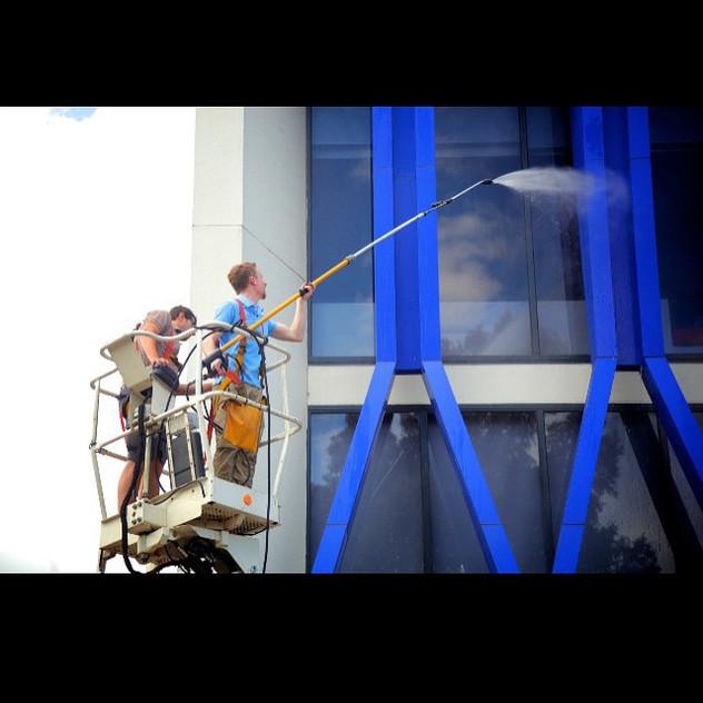 Callum and Antonio high pressure washing