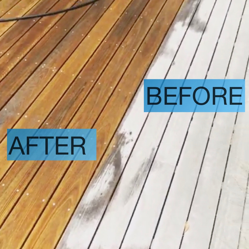 Patio living area deck refresh pressure washed