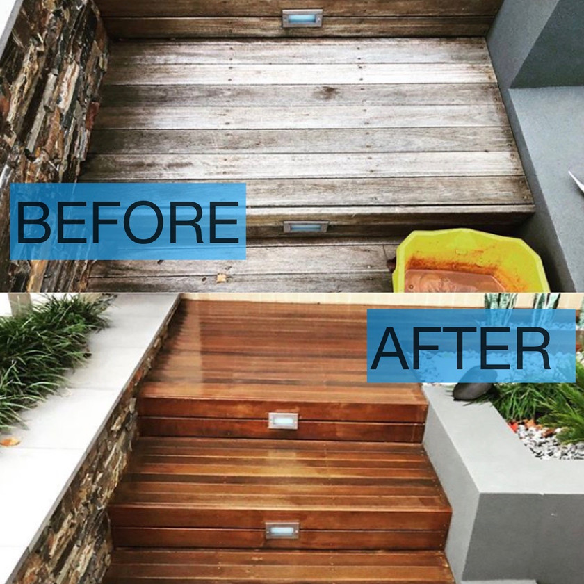 Entrance steps pressure clean-not slippery anymore!