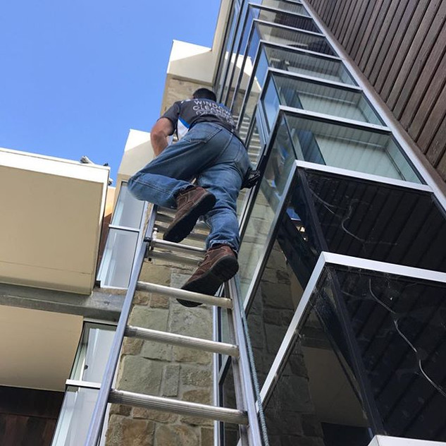 Brian going for it up the ladder
