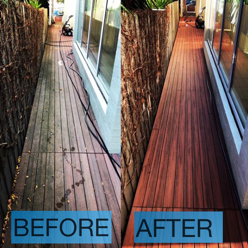 Side Deck cleaned-this used to be slippery and dangerous.