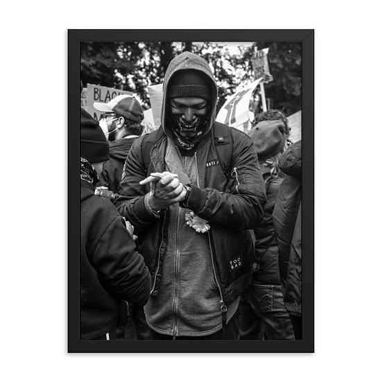Masked man print Framed