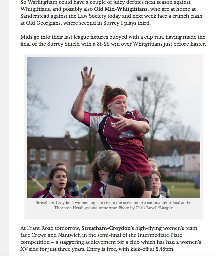 Streatham Croydon rugby