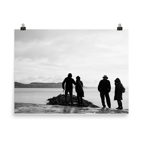Jurassic Coast Lyme Regis silhouette  Black and White Print