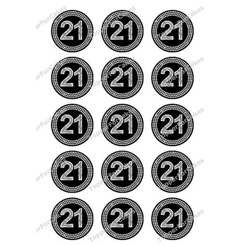 15 x 21st Diamond Effect Birthday Edible Wafer Cupcake Toppers