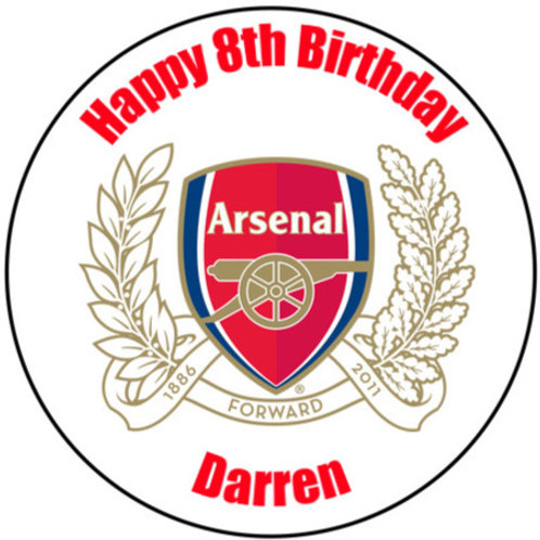 "Arsenal FC Personalised 8"" Round Edible Cake Topper"