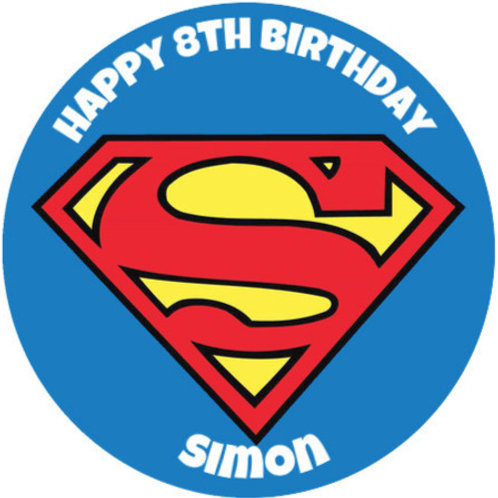 """Superman Personalised 8"""" Round Edible Cake Topper"""