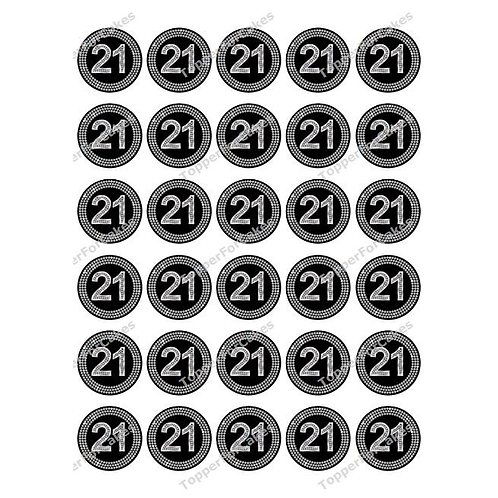 30 x 21st Diamond Effect BirthdayEdible Cupcake Toppers