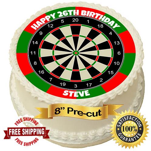 "Dartboard Personalised 8"" Round Edible Cake Topper"