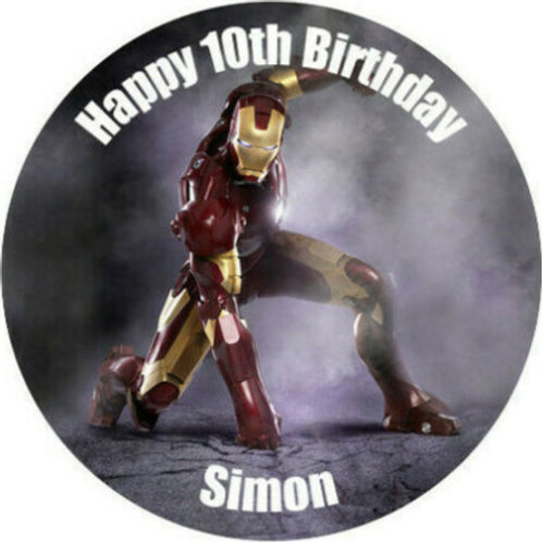 "Iron Man Personalised 8"" Round Edible Cake Topper #5"