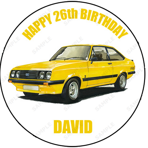 "Ford Escort Mk 2 RS2000 Personalised 8"" Round Edible Cake Topper"