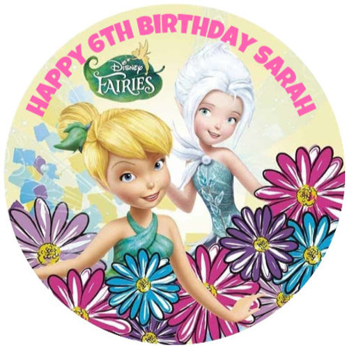 """Tinkerbell & Periwinkle Personalised 8"""" Round Edible Cake Topper"""