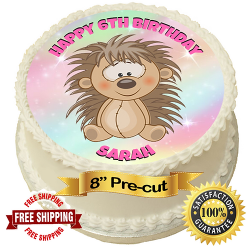 "Cute Hedgehog Personalised 8"" Round Edible Cake Topper"