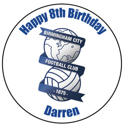 "Birmingham FC Personalised 8"" Round Edible Cake Topper"