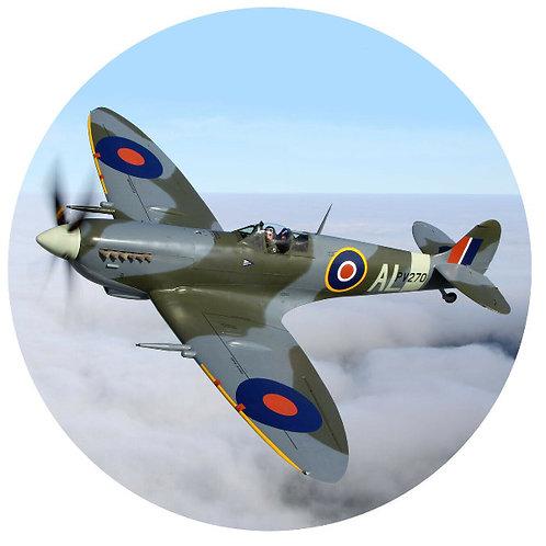"Spitfire Plane 8"" Round Edible Cake Topper"