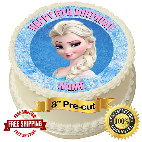 """Frozen Elsa Personalised 8"""" Round Edible Cake Topper"""