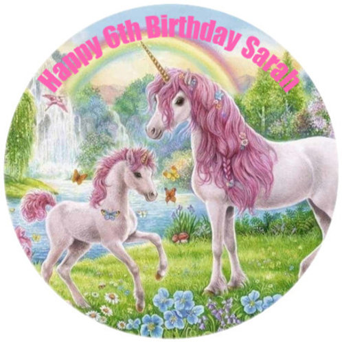 """Unicorn Paradise Personalised 8"""" Round Edible Cake Topper"""