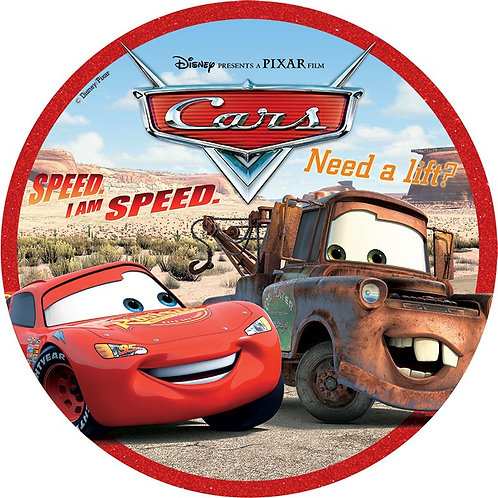 """Cars 8"""" Round Edible Cake Topper #2"""