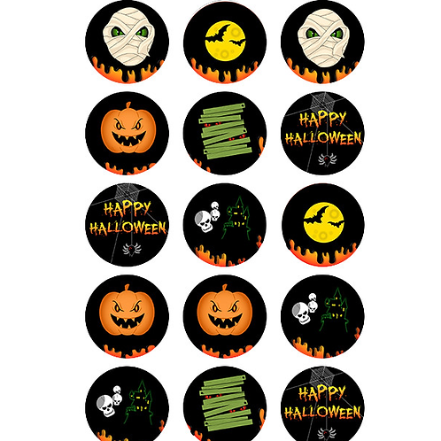 15 x Halloween Edible Cupcake Toppers #1