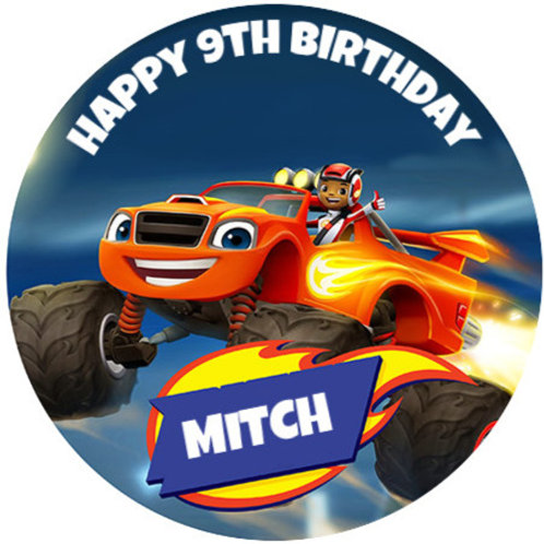 """Blaze and the Monster Machines Personalised 8"""" Round Edible Cake Topper"""
