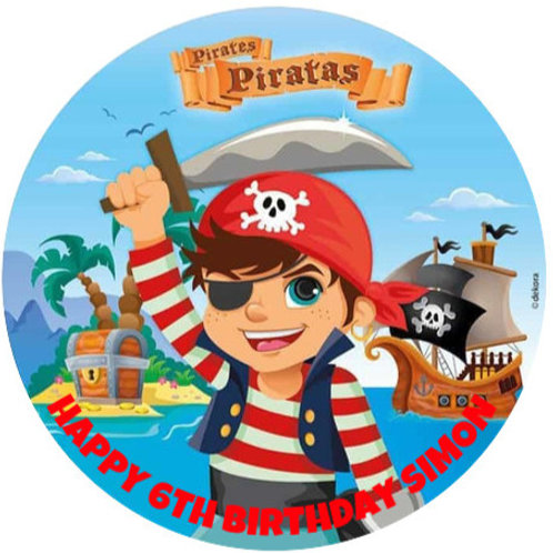 """Pirate Personalised 8"""" Round Edible Cake Topper"""