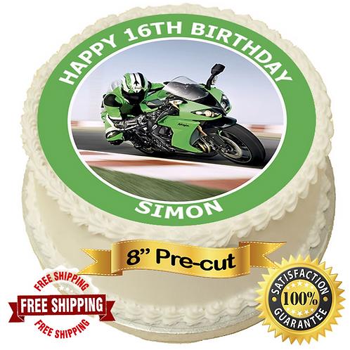 "Green Racing Motorbike Personalised 8"" Round Edible Cake Topper"